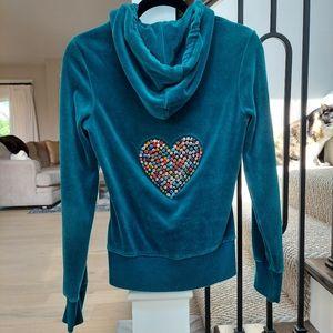 Twisted Heart Velour Rhinestone Jacket